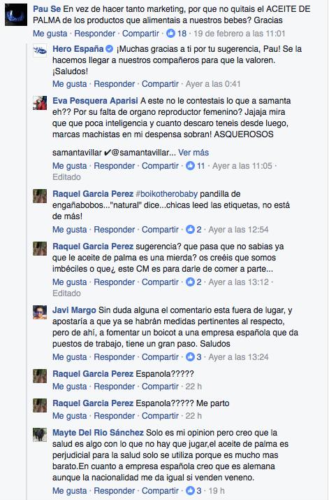 comentarios facebook samanta villar hero aceite palma