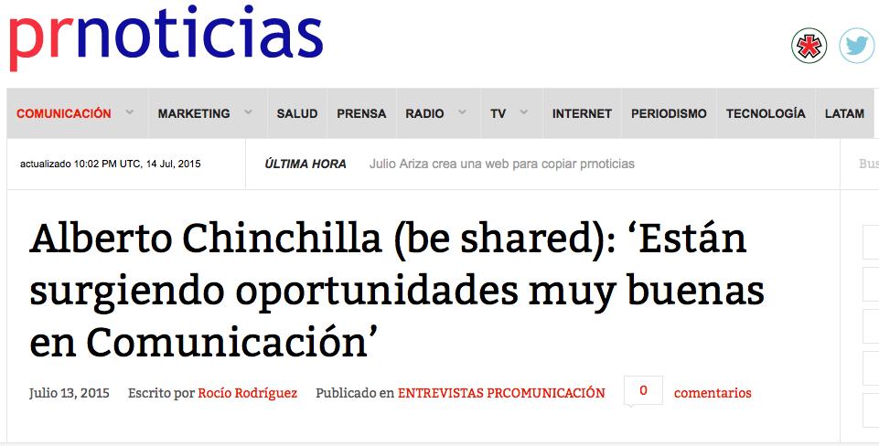 Entrevista en PRNoticias.com a nuestro director Alberto Chinchilla