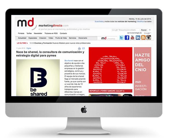 MarketingDirecto.com se hace eco del lanzamiento de be shared