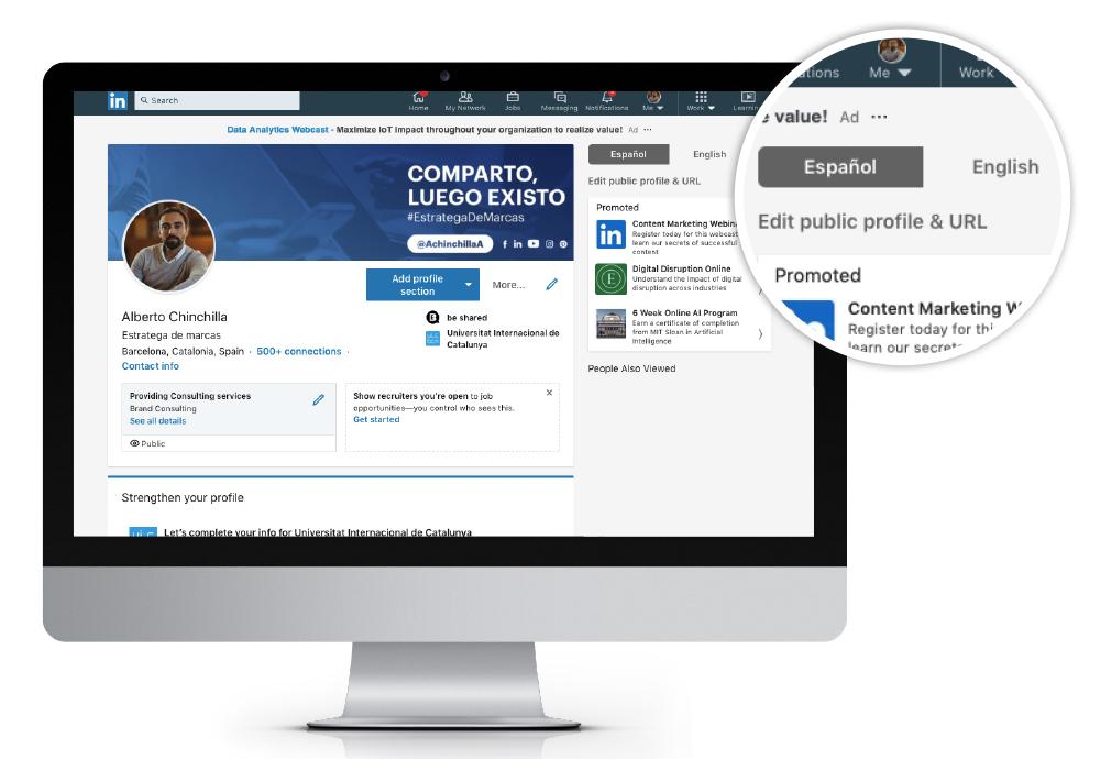 como editar la url y el perfil publico en linkedin espanol english how to edit the url and public profile on linkedin social media