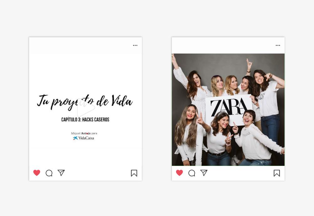 ejemplos caixa bank zara redes sociales instagram influencers casos be shared