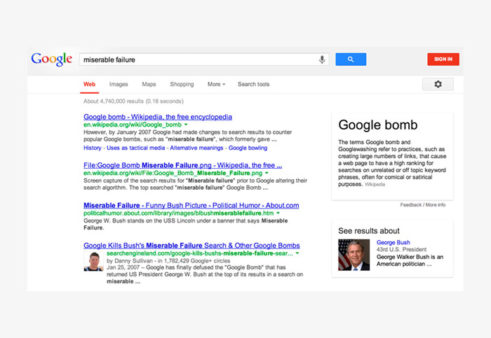definition google boombing example ejemplo